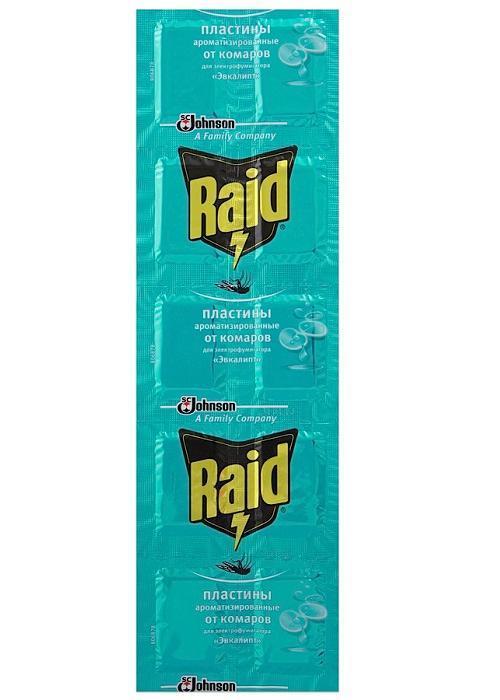 Пластины от комаров Raid Эвкалипт, 10 шт648978Инсектицидное средство Raid предназначено для уничтожения комаров в помещениях. В упаковке содержится 10 пластин с ароматом эвкалипта, которые вставляются в электрофумигатор, работающий от сети в 220 В. Средство начинает действовать уже через 10 минут после включения. Одна пластина рассчитана на 8 часов непрерывного использования.