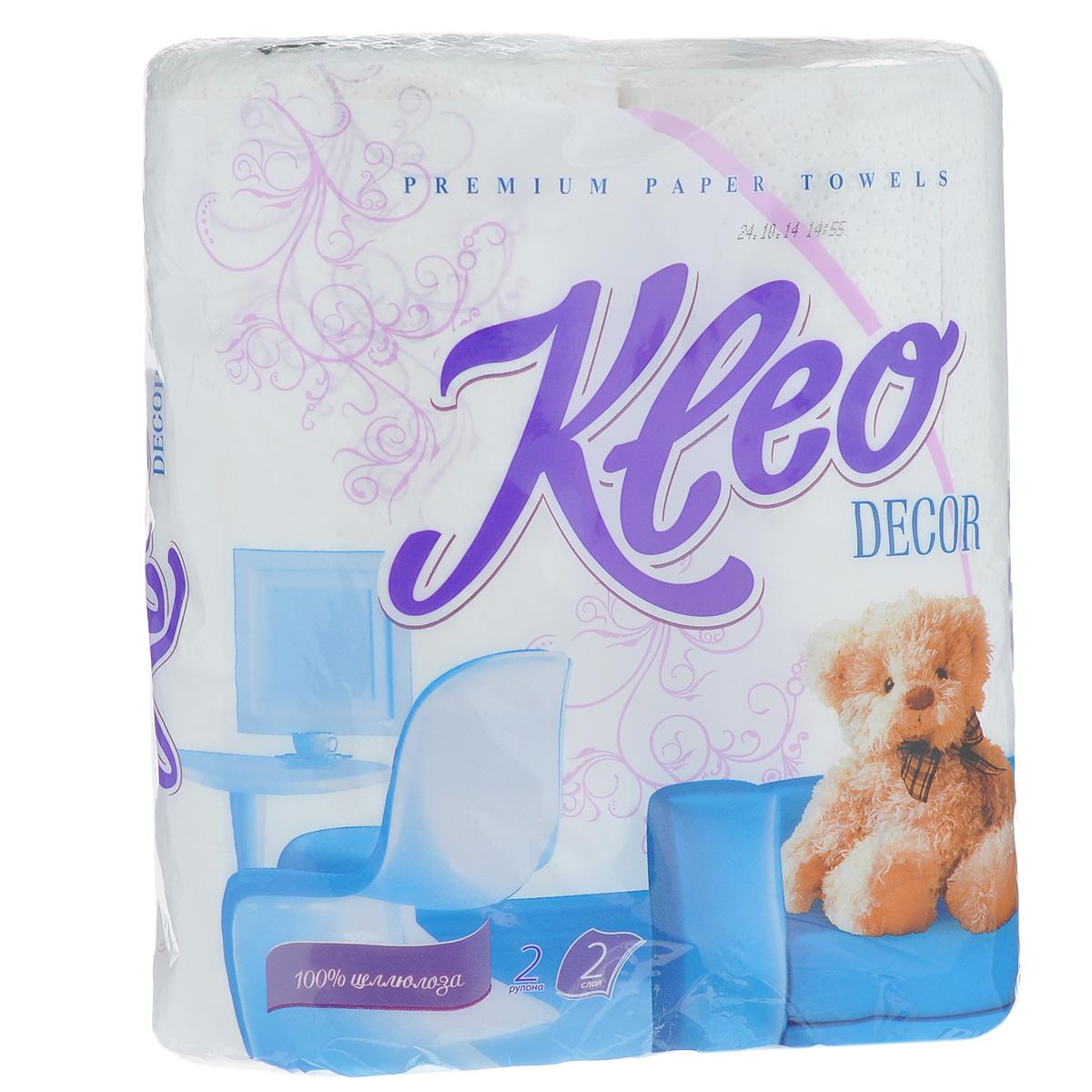 Полотенца бумажные Kleo Decor, двухслойные, цвет: белый, 2 рулонаC120Бумажные полотенца Kleo Decor созданы из экологически чистого волокна - 100% целлюлозы. Двухслойные, с цветным рисунком. Хорошо впитывают влагу и идеально подходят для ежедневного использования. Количество листов: 48 шт. Количество слоев: 2. Размер листа: 25 см х 23 см. Состав: 100% целлюлоза.