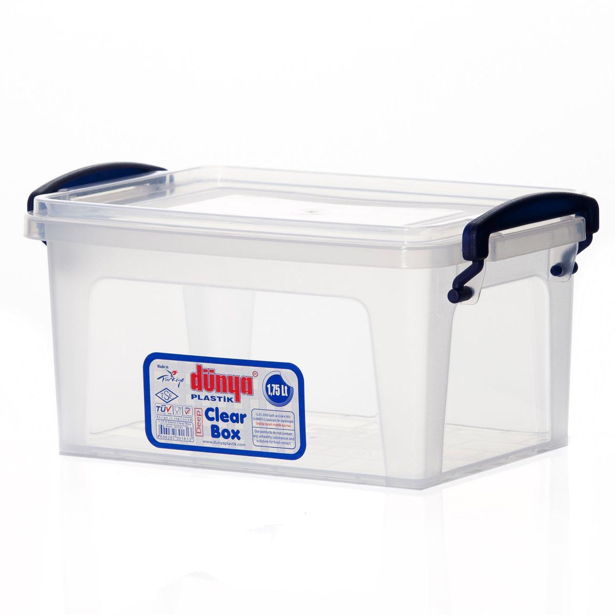 Контейнер Dunya Plastik Clear Box, цвет: прозрачный, 1,75 л30161Контейнер Dunya Plastik Clear Box выполнен из прочного пластика. Он предназначен для хранения различных мелких вещей. Крышка легко открывается и плотно закрывается. Прозрачные стенки позволяют видеть содержимое. По бокам предусмотрены две удобные ручки, с помощью которых контейнер закрывается. Контейнер поможет хранить все в одном месте, а также защитить вещи от пыли, грязи и влаги. Объем: 1,75 л. Размер контейнера: 20,5 см х 13,5 см. Высота (без учета крышки): 9,2 см.