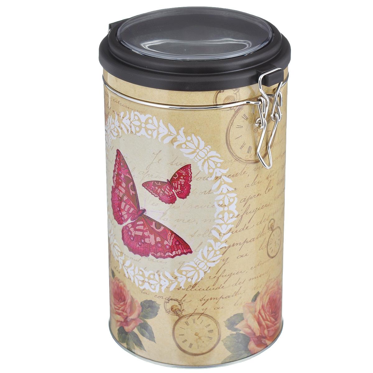 Банка для сыпучих продуктов Феникс-презент Розовая бабочка, 1,8 л37637Банка для сыпучих продуктов Феникс-презент Розовая бабочка, изготовленная из окрашенного черного металла, оформлена ярким рисунком. Банка прекрасно подойдет для хранения различных сыпучих продуктов: специй, чая, кофе, сахара, круп и многого другого. Емкость плотно закрывается прозрачной пластиковой крышкой на металлический замок. Благодаря этому она будет дольше сохранять свежесть ваших продуктов. Функциональная и вместительная, такая банка станет незаменимым аксессуаром на любой кухне. Нельзя мыть в посудомоечной машине. Объем банки: 1,8 л. Высота банки (без учета крышки): 17,4 см. Диаметр банки (по верхнему краю): 10,5 см.