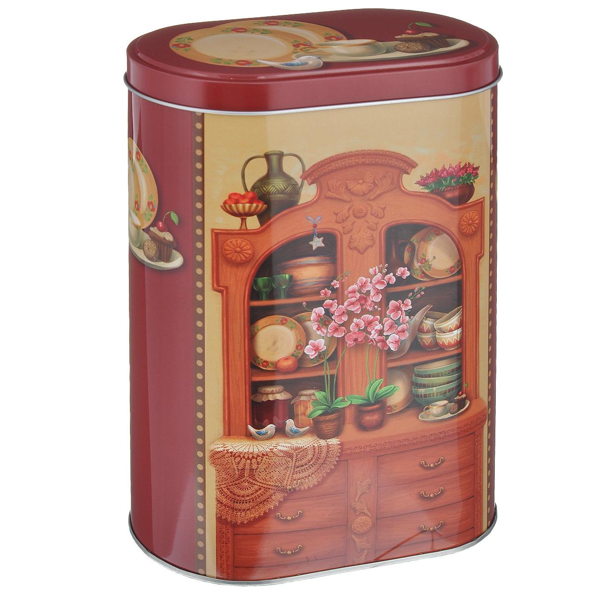 Банка для сыпучих продуктов Феникс-презент Бабушкин сервант, 1,7 л37656Банка для сыпучих продуктов Феникс-презент Бабушкин сервант, изготовленная из окрашенного черного металла, оформлена ярким рисунком. Банка прекрасно подойдет для хранения различных сыпучих продуктов: специй, чая, кофе, сахара, круп и многого другого. Емкость плотно закрывается крышкой. Благодаря этому она будет дольше сохранять свежесть ваших продуктов. Функциональная и вместительная, такая банка станет незаменимым аксессуаром на любой кухне. Нельзя мыть в посудомоечной машине. Объем банки: 1,7 л. Высота банки (без учета крышки): 18,5 см. Размер банки (по верхнему краю): 13,5 см х 7,5 см.