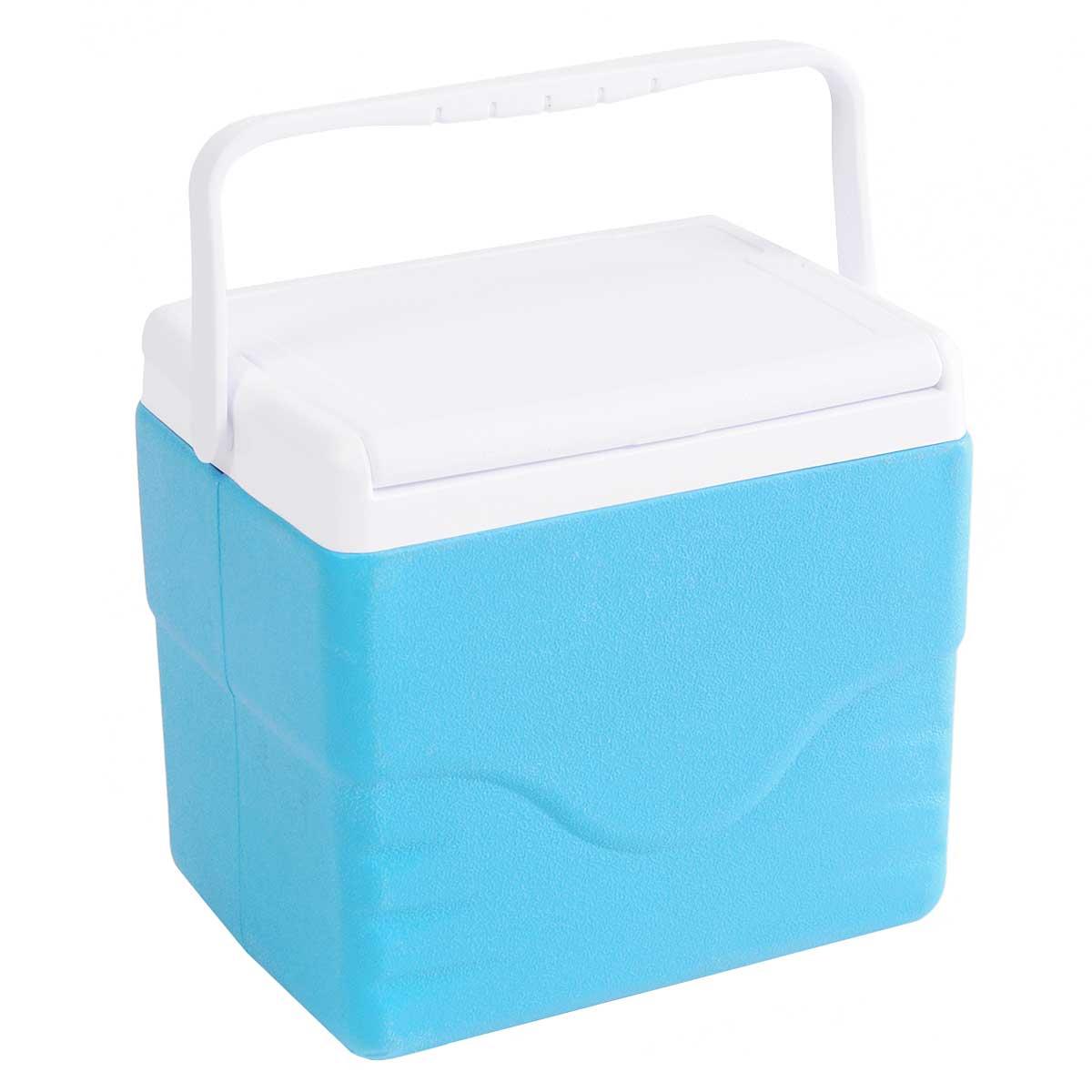 Контейнер изотермический Green Glade, цвет: голубой, 9 лС12090Легкий и прочный изотермический контейнер Green Glade предназначен для хранения и транспортировки охлажденных и скоропортящихся продуктов питания и напитков. Корпус и крышка контейнера изготовлены из высококачественного полипропилена. Между двойными стенками находится термоизоляционный слой из пенополистирола, который обеспечивает сохранение температуры. При использовании аккумулятора холода, контейнер обеспечивает сохранение продуктов холодными на 8-10 часов. Подвижная ручка делает более удобной переноску контейнера. Крышка может использоваться как столик или как поднос.