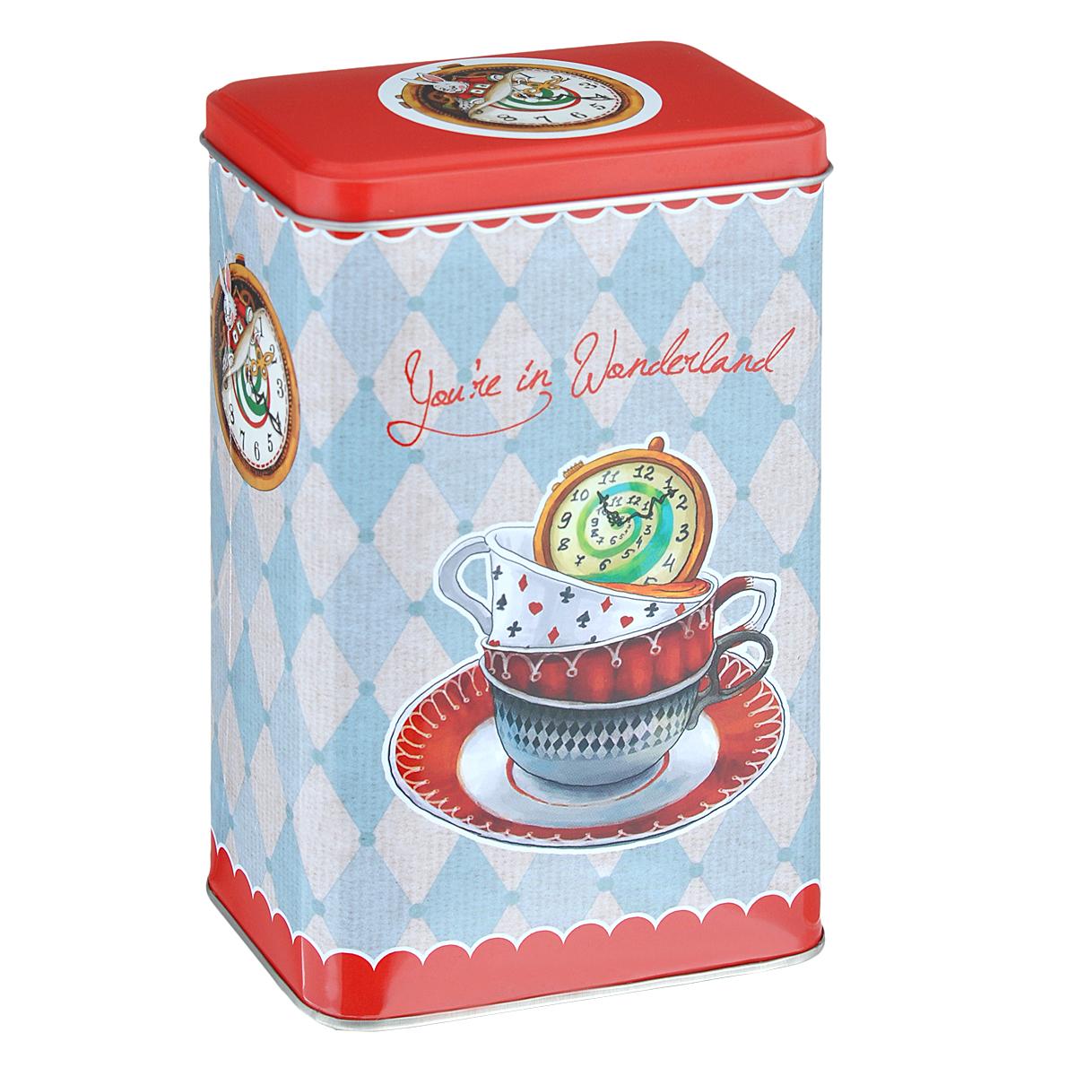Банка для сыпучих продуктов Феникс-презент Чайное время, 900 мл37617Банка для сыпучих продуктов Феникс-презент Чайное время, изготовленная из окрашенного черного металла, оформлена ярким рисунком. Банка прекрасно подойдет для хранения различных сыпучих продуктов: специй, чая, кофе, сахара, круп и многого другого. Емкость плотно закрывается крышкой. Благодаря этому она будет дольше сохранять свежесть ваших продуктов. Функциональная и вместительная, такая банка станет незаменимым аксессуаром на любой кухне. Нельзя мыть в посудомоечной машине. Объем банки: 900 мл. Высота банки (без учета крышки): 16 см. Размер банки (по верхнему краю): 9,5 см х 6 см.