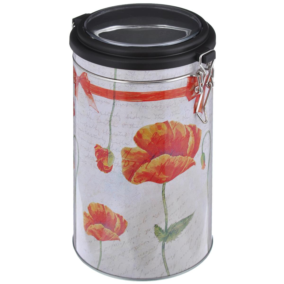 Банка для сыпучих продуктов Феникс-презент Маки, 1,8 л37639Банка для сыпучих продуктов Феникс-презент Маки, изготовленная из окрашенного черного металла, оформлена ярким рисунком. Банка прекрасно подойдет для хранения различных сыпучих продуктов: специй, чая, кофе, сахара, круп и многого другого. Емкость плотно закрывается прозрачной пластиковой крышкой на металлический замок. Благодаря этому она будет дольше сохранять свежесть ваших продуктов. Функциональная и вместительная, такая банка станет незаменимым аксессуаром на любой кухне. Нельзя мыть в посудомоечной машине. Объем банки: 1,8 л. Высота банки (без учета крышки): 17,4 см. Диаметр банки (по верхнему краю): 10,5 см.