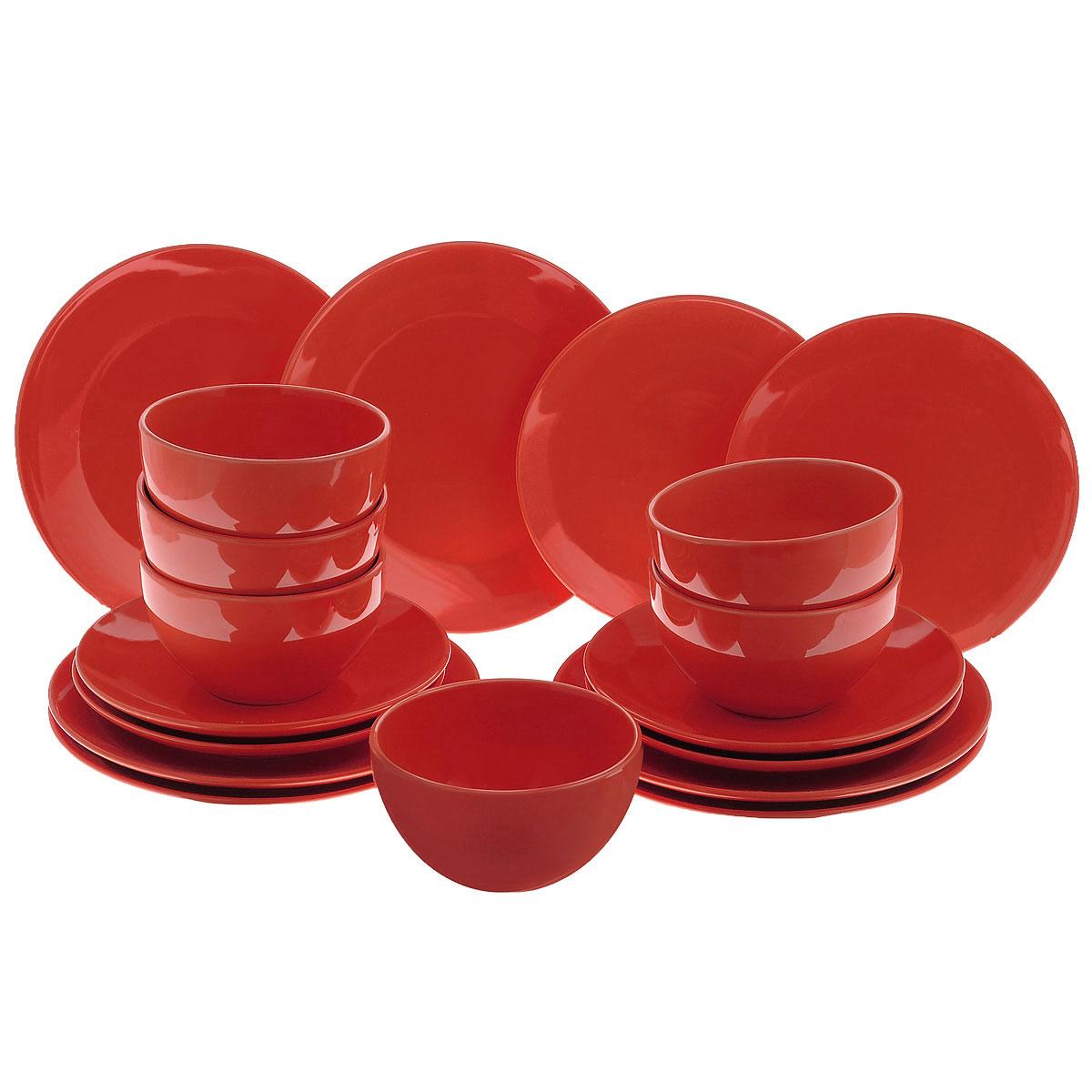 """Набор столовой посуды """"Korall"""", цвет: красный, 18 предметов"""