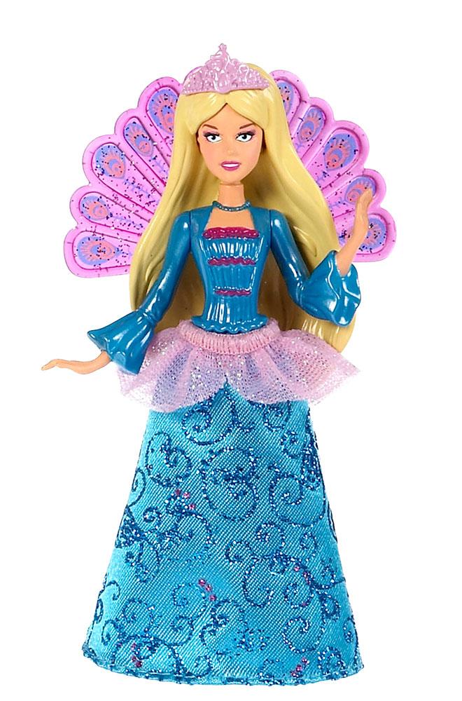 Barbie Мини-кукла Сказочная цвет платья голубойV7050_W1287Эта сказочная куколка позволит разыгрывать сцены из любимых мультфильмов о Барби и придумывать собственные истории. На куколке надета снимающаяся текстильная юбочка, за спиной красуется веер, стилизованный под хвост павлина. Голова, ручки и ножки мини-куклы подвижны. Куколка не может стоять без опоры.