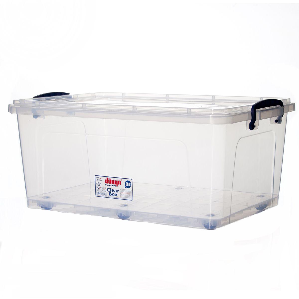 Контейнер Dunya Plastik Clear Box, цвет: прозрачный, синий, 30 л30157Контейнер Dunya Plastik Clear Box выполнен из прочного пластика. Он предназначен для хранения различных вещей. Крышка легко открывается и плотно закрывается. Прозрачные стенки позволяют видеть содержимое. По бокам предусмотрены две удобные ручки, с помощью которых контейнер закрывается. Изделие оснащено колесиками для удобства транспортировки. Контейнер поможет хранить все в одном месте, а также защитить вещи от пыли, грязи и влаги. Размер контейнера (с учетом крышки): 55 см х 37 см. Высота (с учетом крышки): 23 см. Объем: 30 л.