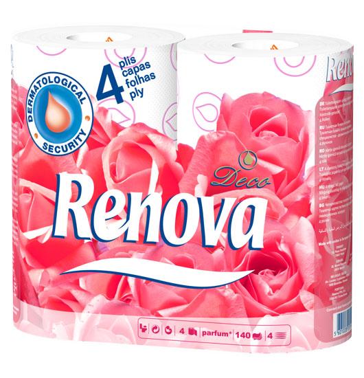 Туалетная бумага Renova Deco, четырехслойная, ароматизированная, цвет: белый, 12 рулонов200043285Туалетная бумага Renova Deco изготовлена по новейшей технологии из 100% ароматизированной целлюлозы, благодаря чему она имеет тонкий аромат, очень мягкая, нежная, но в тоже время прочная. Туалетная бумага Renova Deco объединяет удовольствие чувств и комфорт совершенной гигиены. Состав: 100% ароматизированная целлюлоза. Количество листов: 140 шт. Количество слоев: 4. Количество рулонов: 12 шт. Португальская компания Renova является ведущим разработчиком новейших технологий производства, нового стиля и направления на рынке гигиенической продукции. Современный дизайн и высочайшее качество, дерматологический контроль - это то, что выделяет компанию Renova среди других производителей бумажной санитарно-гигиенической продукции.