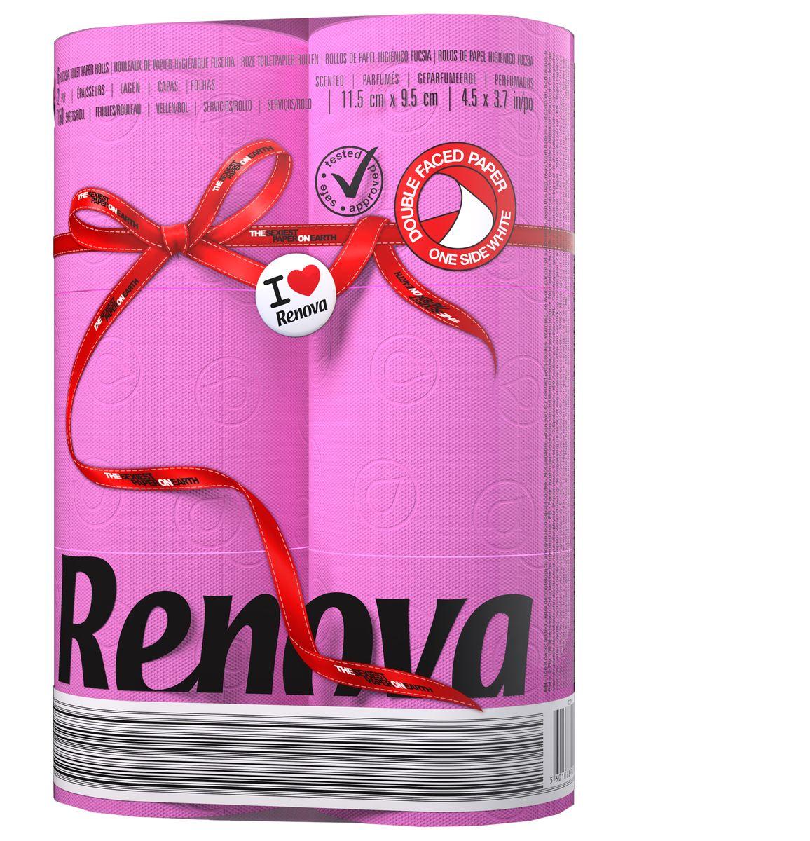 Туалетная бумага Renova, двухслойная, ароматизированная, цвет: фуксия, 6 рулонов200066926Туалетная бумага Renova изготовлена по новейшей технологии из 100% ароматизированной целлюлозы, благодаря чему она имеет тонкий аромат, очень мягкая, нежная, но в тоже время прочная. Эксклюзивная двухсторонняя туалетная бумага Renova  экстрамодного цвета, придаст вашему туалету оригинальность. Состав: 100% ароматизированная целлюлоза. Количество листов: 150 шт. Количество слоев: 2. Размер листа: 11,5 см х 9,5 см. Количество рулонов: 6 шт. Португальская компания Renova является ведущим разработчиком новейших технологий производства, нового стиля и направления на рынке гигиенической продукции. Современный дизайн и высочайшее качество, дерматологический контроль - это то, что выделяет компанию Renova среди других производителей бумажной санитарно-гигиенической продукции.