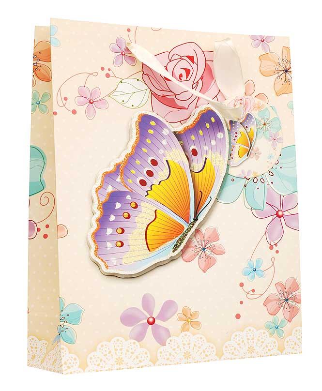 Пакет подарочный Бабочка в цветах, 18 см х 8 см х 24 см1400-SB Пакет Бабочка в цветахДизайнерский подарочный пакет Бабочка в цветах выполнен из плотной бумаги и оформлен ярким красочным рисунком и аппликацией. Дно изделия укреплено плотным картоном, который позволяет сохранить форму пакета и исключает возможность деформации дна под тяжестью подарка. Для удобной переноски на пакете имеются две атласные ручки. Подарок, преподнесенный в оригинальной упаковке, всегда будет самым эффектным и запоминающимся. Окружите близких людей вниманием и заботой, вручив презент в нарядном, праздничном оформлении.