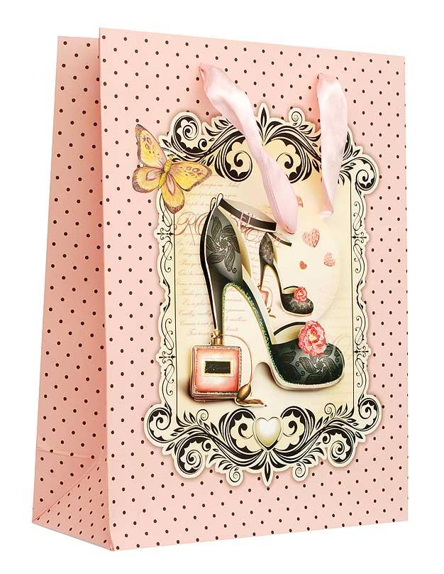 Пакет подарочный Дамская туфелька, 18 х 8 х 24 см1210-SB Пакет Дамская туфелькаДизайнерский подарочный пакет Дамская туфелька выполнен из плотной бумаги и оформлен ярким красочным рисунком и аппликацией. Дно изделия укреплено плотным картоном, который позволяет сохранить форму пакета и исключает возможность деформации дна под тяжестью подарка. Для удобной переноски на пакете имеются две атласные ручки. Подарок, преподнесенный в оригинальной упаковке, всегда будет самым эффектным и запоминающимся. Окружите близких людей вниманием и заботой, вручив презент в нарядном, праздничном оформлении.
