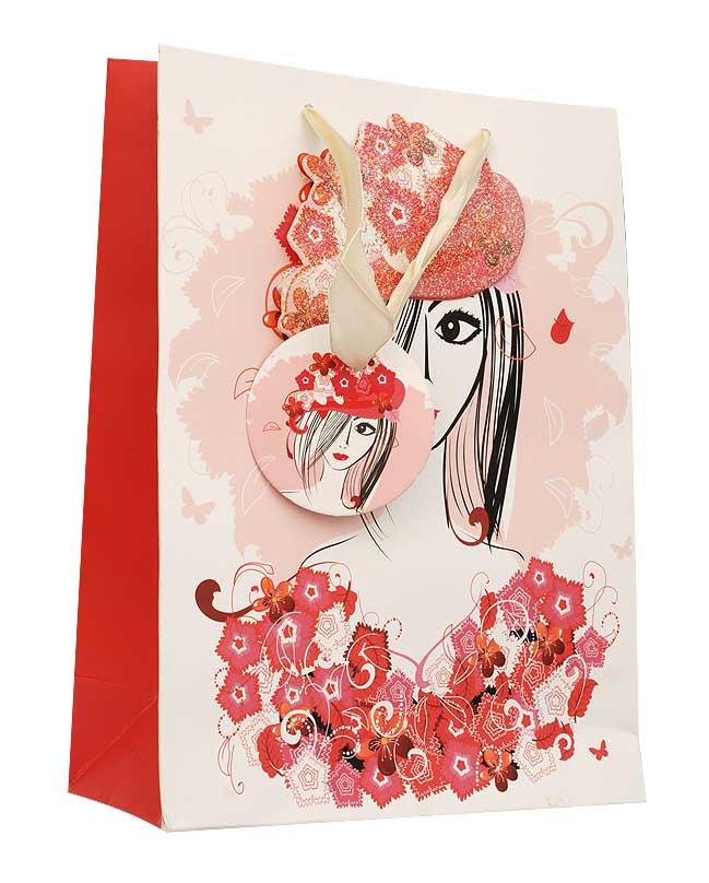 Пакет подарочный Леди, 18 см х 8 см х 24 см1212-SB Пакет ЛедиДизайнерский подарочный пакет Леди выполнен из плотной бумаги и оформлен ярким красочным рисунком и аппликацией. Дно изделия укреплено плотным картоном, который позволяет сохранить форму пакета и исключает возможность деформации дна под тяжестью подарка. Для удобной переноски на пакете имеются две атласные ручки. Подарок, преподнесенный в оригинальной упаковке, всегда будет самым эффектным и запоминающимся. Окружите близких людей вниманием и заботой, вручив презент в нарядном, праздничном оформлении.