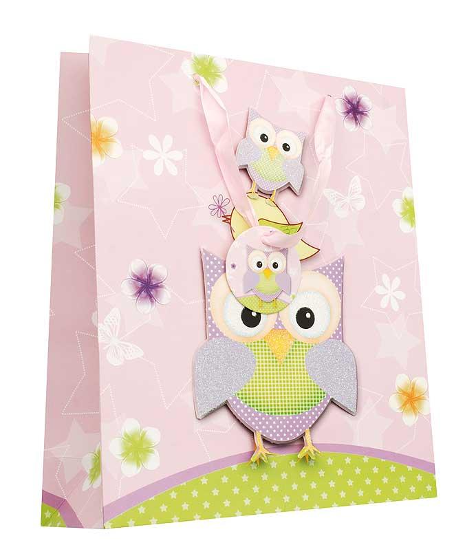 Пакет подарочный Сиреневые совы, 26 см х 10 см х 32 см1406-SB Пакет Сиреневые совыДизайнерский подарочный пакет Сиреневые совы выполнен из плотной бумаги и оформлен ярким красочным рисунком и аппликацией. Дно изделия укреплено плотным картоном, который позволяет сохранить форму пакета и исключает возможность деформации дна под тяжестью подарка. Для удобной переноски на пакете имеются две атласные ручки. Подарок, преподнесенный в оригинальной упаковке, всегда будет самым эффектным и запоминающимся. Окружите близких людей вниманием и заботой, вручив презент в нарядном, праздничном оформлении.