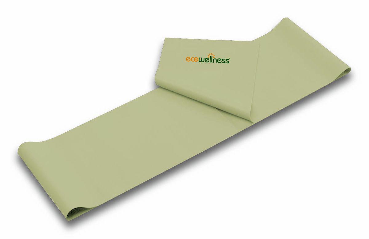 Лента для аэробики Ecowellness, цвет: оливковый, толщина 0,5 мм. QB-102G3-50QB-102G3-50Лента Ecowellness выполнена из высококачественного латекса, предназначена для занятий аэробикой и идеально подходит для укрепления верхней и нижней части тела. Это полноценный компактный тренажер, который удобно брать с собой в дорогу. Размер: 120 см х 15 см. Толщина: 0,5 мм.