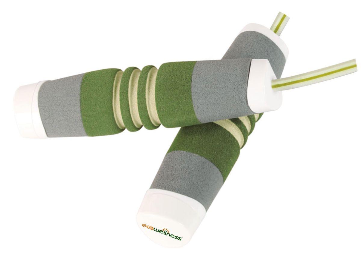 Скакалка Ecowellness, цвет: зеленый, 275 смQK-210FN-BСкакалка Ecowellness выполнена из высококачественного полипропилена, неопрена и ПВХ. Это прекрасный способ заниматься фитнесом и получать при этом удовольствие. Занятия на скакалке улучшает выносливость, тонизирует мышцы и тренирует сердечно-сосудистую систему. Длина скакалки: 275 cм. Толщина шнура: 5 мм.