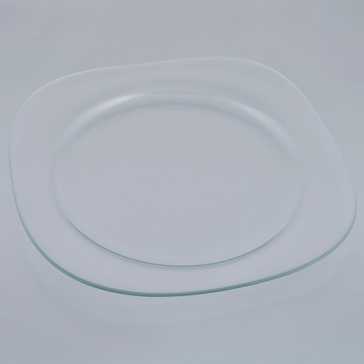 Блюдо Pasabahce Invitation, 31 х 31 см10469BБлюдо Pasabahce Invitation изготовлено из прочного закаленного натрий-кальций-силикатного стекла. Изделие имеет квадратную форму с закругленными углами. Изящное блюдо прекрасно подходит для подачи тортов, пирогов и другой выпечки, а также различных закусок и нарезок. Такое блюдо красиво оформит праздничный стол и удивит вас лаконичным и стильным дизайном. Можно мыть в посудомоечной машине. Размер блюда: 31 см х 31 см. Высота блюда: 2 см.