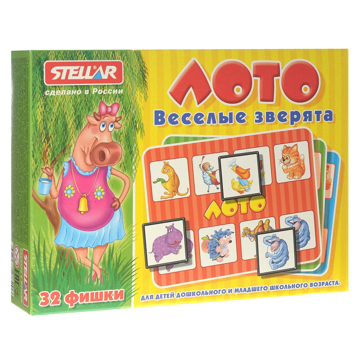 Лото Stellar Веселые зверята00905Лото Stellar Веселые зверята обязательно понравится вашему малышу. Комплект игры включает в себя 32 ярких фишки, выполненные из безопасного полистирола, 4 картонных карточки с забавными рисунками и полиэтиленовый мешочек для перемешивания фишек. В игре могут принимать участие до 4 человек. Фишки складываются в мешочек, игрокам раздают карточки. Ведущий достает фишки из мешка, а игроки накрывают ими совпавшие картинки. Выигрывает тот, кто первым накроет фишками все картинки. Также красочные фишки можно использовать в качестве обучающего материала - на примере картинок вы сможете рассказать малышу разных животных. Игра в лото не только подарит малышу множество веселых мгновений, но и поможет познакомиться с новыми словами, а также развить внимательность, логическое мышление и мелкую моторику.