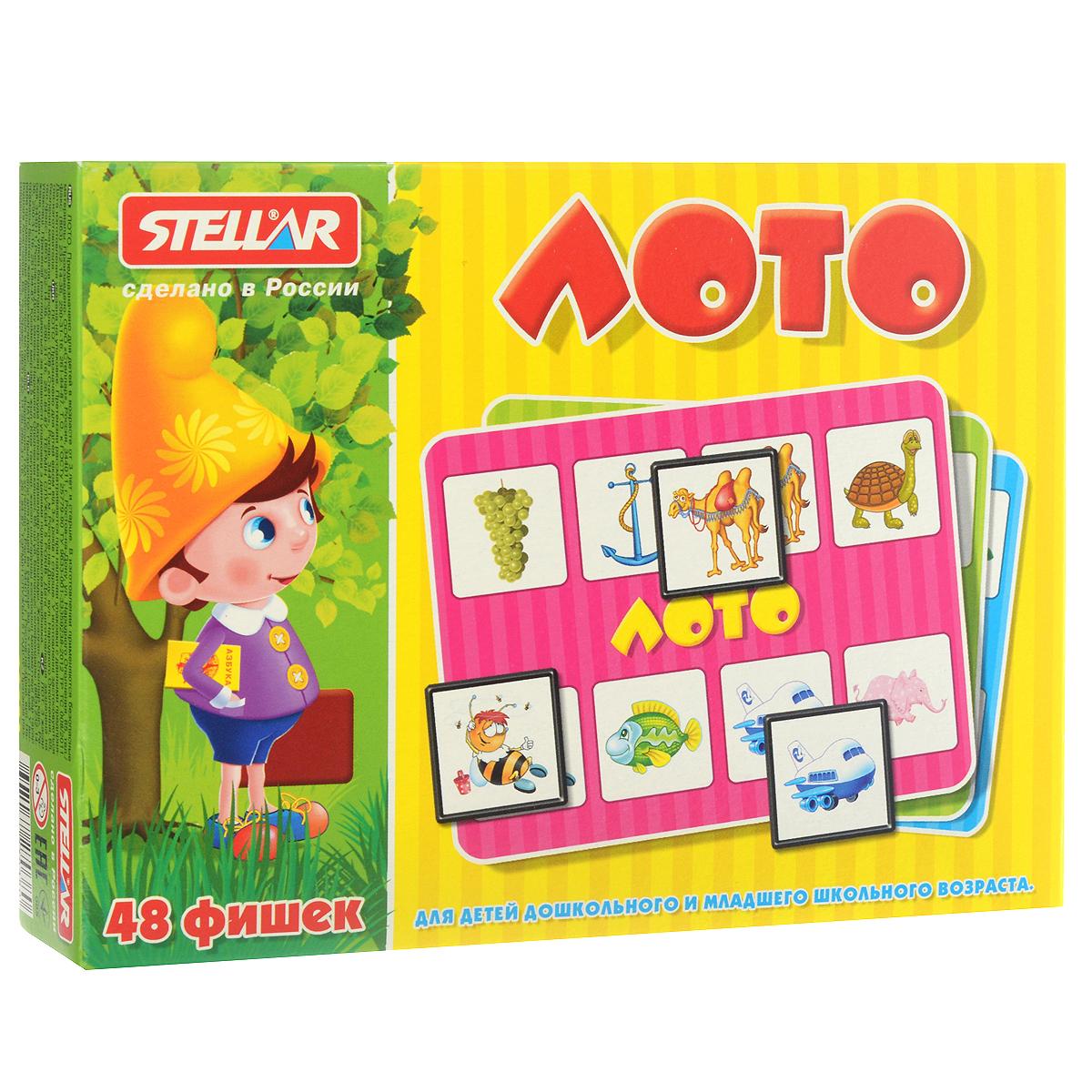 Лото Stellar00901Лото Stellar для детей дошкольного и младшего школьного возраста обязательно понравится вашему малышу. Комплект игры включает в себя 48 ярких фишек, 6 картонных карточек с забавными рисунками и полиэтиленовый мешочек для перемешивания фишек. Фишки выполнены из безопасного полистирола. В игре могут принимать участие до 6 человек. Фишки складываются в мешочек, игрокам раздают карточки. Ведущий достает фишки из мешка, а игроки накрывают ими совпавшие картинки. Выигрывает тот, кто первым накроет фишками все картинки. Также красочные фишки можно использовать в качестве обучающего материала - на примере картинок вы сможете рассказать малышу о предметах, которые его окружают. Игра в лото не только подарит малышу множество веселых мгновений, но и поможет познакомиться с новыми словами, а также развить внимательность, пространственное мышление и мелкую моторику.