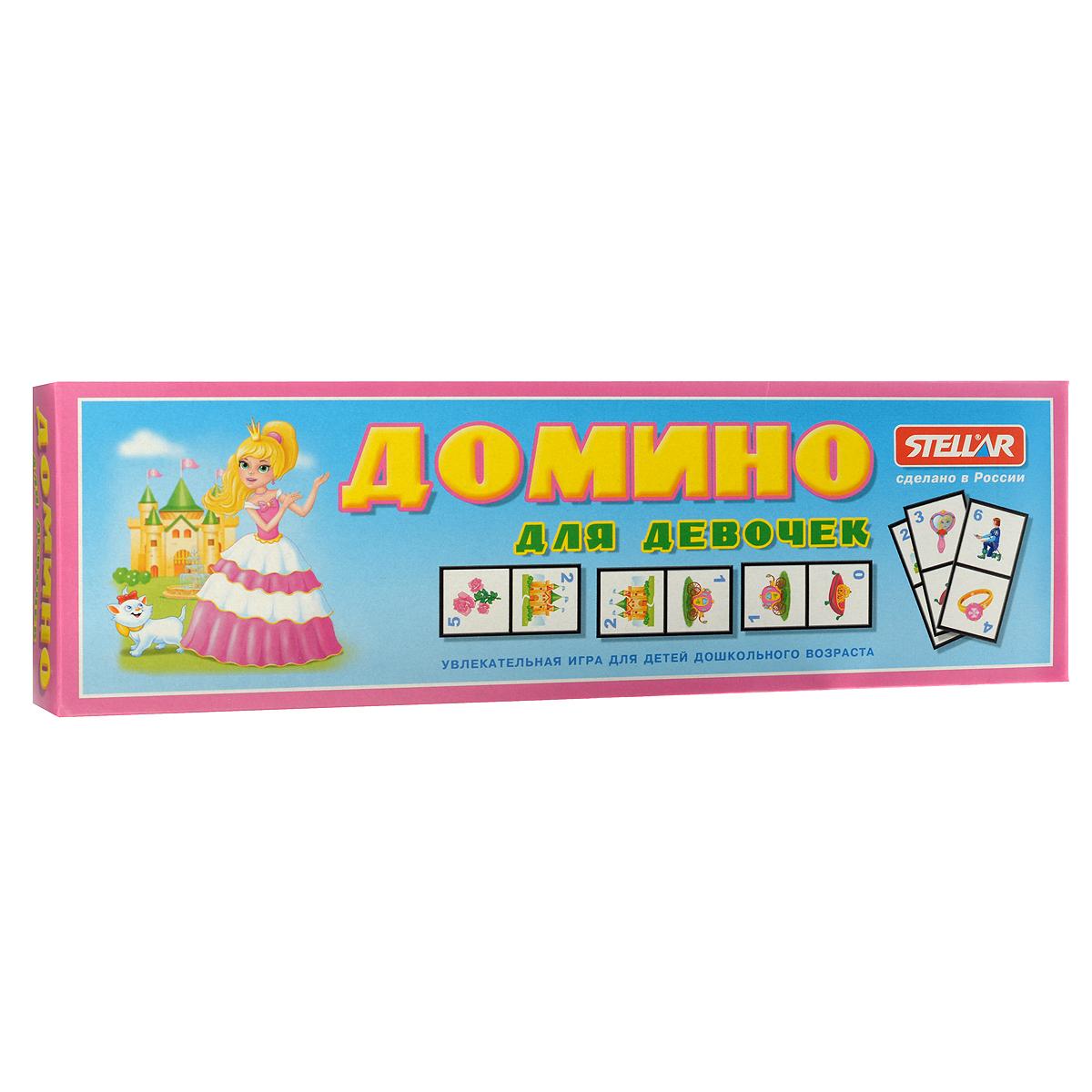 Домино Stellar Для девочек00019Домино Stellar Для девочек позволит вам и вашему малышу весело и с пользой провести время. Комплект игры включает в себя 28 фишек с красочными изображениями игрушек для девочек. Фишки выполнены из безопасного полистирола. Каждый игрок должен добавить в цепочку из фишек одну их своих фишек так, чтобы изображение на ней подошло к изображению на конце цепи. Если в руках у игрока нет подходящей фишки, он берет дополнительные до тех пор, пока не попадется нужная. Выигрывает тот, кто первым выложит все свои фишки. Также красочные фишки можно использовать в качестве обучающего материала - на примере картинок вы сможете рассказать ребенку об окружающем мире. Игра в домино не только подарит малышу множество веселых мгновений, но и поможет познакомиться с новыми словами, а также развить внимательность, пространственное мышление и мелкую моторику.
