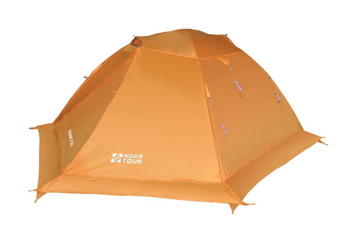 NOVA TOUR Палатка Памир 3 V2, цвет: оранжевый. Арт.9550195501-207-00Классическая туристическая трехместная палатка с повышенной ветроустойчивостью. Дополнительные оттяжки со светоотражающими нитями, усиленный каркас, ветрозащитная юбка. Два тамбура с независимыми входами, добавляют комфорта, а антимоскитные сетки и эффективная система сквозной вентиляции жилой зоны, ослабляют возникновение конденсата. Яркий цвет делает палатку более заметной в условиях плохой видимости. Все технологические решения проверены годами успешной эксплуатации.