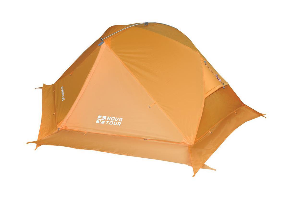 NOVA TOUR Палатка Ай Петри 2 V2, цвет: оранжевый. Арт.9541495414-207-00Палатка специально разработана для горного и пешеходного туризма. Она легкая, износостойкая. Для дополнительной термоизоляции используется юбка. Юбку также можно поднять в теплую погоду.