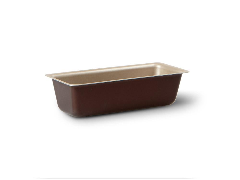 Форма для пирога TVS Dolci Idee, с антипригарным покрытием, цвет: золотистый, шоколадный, 27 см х 10 см82075271031201Прямоугольная форма для пирога TVS Dolci Idee изготовлена из высококачественного алюминия с внутренним антипригарным покрытием Ipertek. Оригинальная по дизайну форма имеет внутренне покрытие золотистого цвета, а внешнее шоколадного. Форма предназначена для использования в духовом шкафу. Можно мыть в посудомоечной машине. Простая в уходе и долговечная в использовании форма для пирога TVS Dolci Idee будет верной помощницей в создании ваших кулинарных шедевров. Размер формы (внешний): 27 см х 10 х 7 см. Размер формы (внутренний): 23 см х 8 х 6 см.