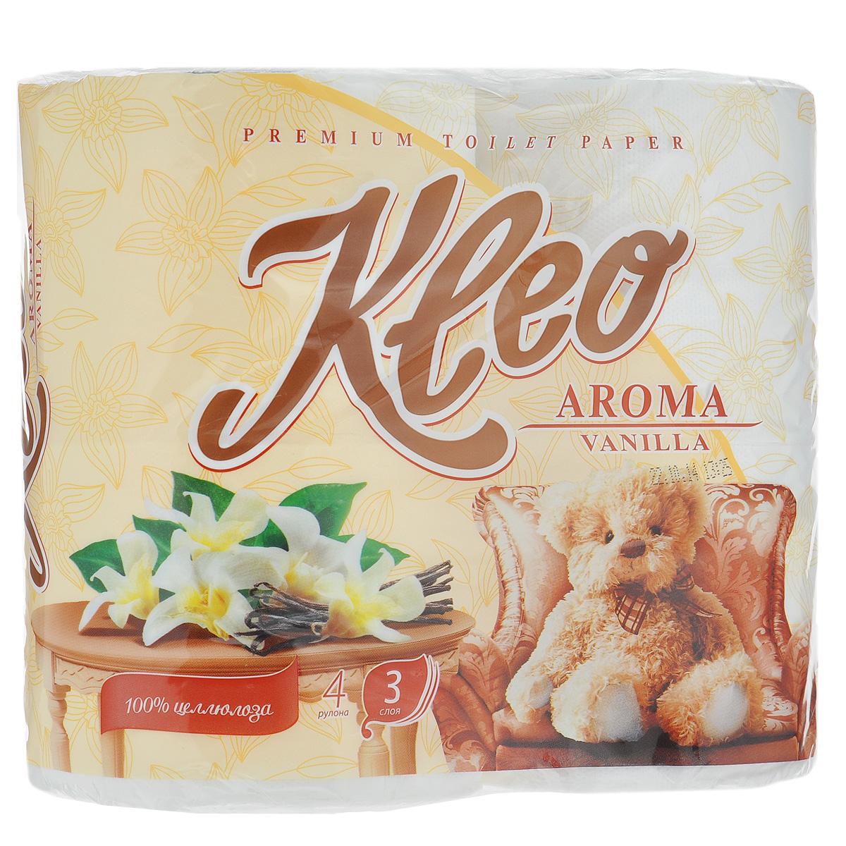 Туалетная бумага Kleo Aroma. Vanilla, трехслойная, цвет: белый, 4 рулонаC87Туалетная бумага Kleo Aroma. Vanilla, выполненная из натуральной целлюлозы, обеспечивает превосходный комфорт и ощущение чистоты и свежести. Имеет нежный аромат ванили. Необыкновенно мягкая, но в тоже время прочная, бумага не расслаивается и отрывается строго по линии перфорации. Трехслойные листы имеют рисунок с перфорацией. Количество листов: 168 шт. Количество слоев: 3. Размер листа: 12,5 см х 9,6 см. Состав: 100% целлюлоза, ароматизатор.