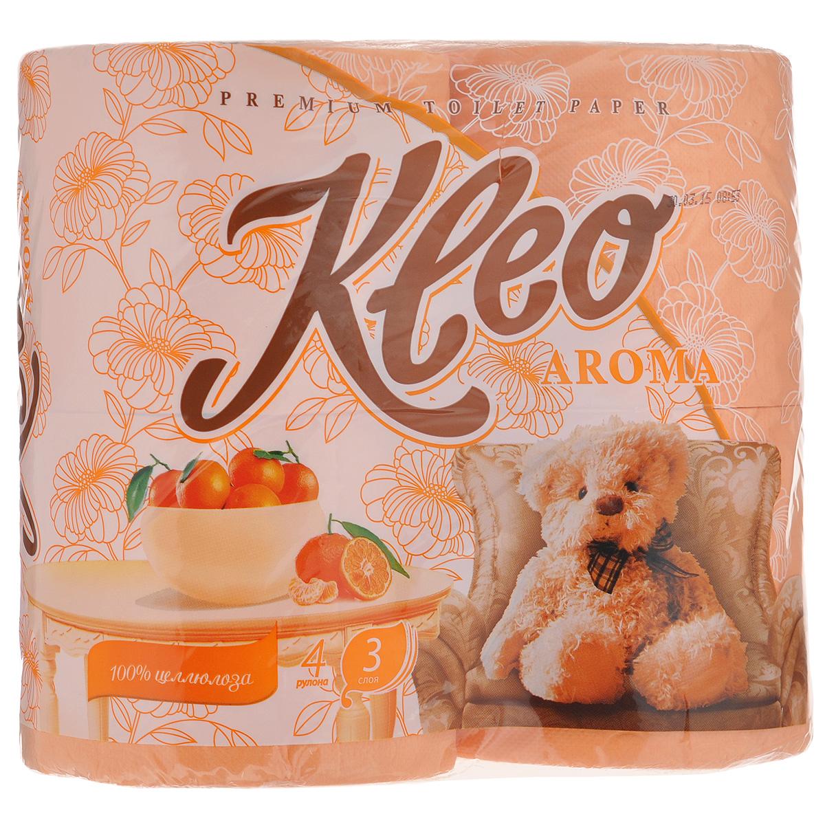 Туалетная бумага Kleo Aroma. Mandarin, трехслойная, цвет: персиковый, 4 рулонаC98Туалетная бумага Kleo Aroma. Mandarin, выполненная из натуральной целлюлозы, обеспечивает превосходный комфорт и ощущение чистоты и свежести. Имеет приятный аромат мандарина. Необыкновенно мягкая, но в тоже время прочная, бумага не расслаивается и отрывается строго по линии перфорации. Трехслойные листы имеют рисунок с перфорацией. Количество листов: 168 шт. Количество слоев: 3. Размер листа: 12,5 см х 9,6 см. Состав: 100% целлюлоза, ароматизатор.