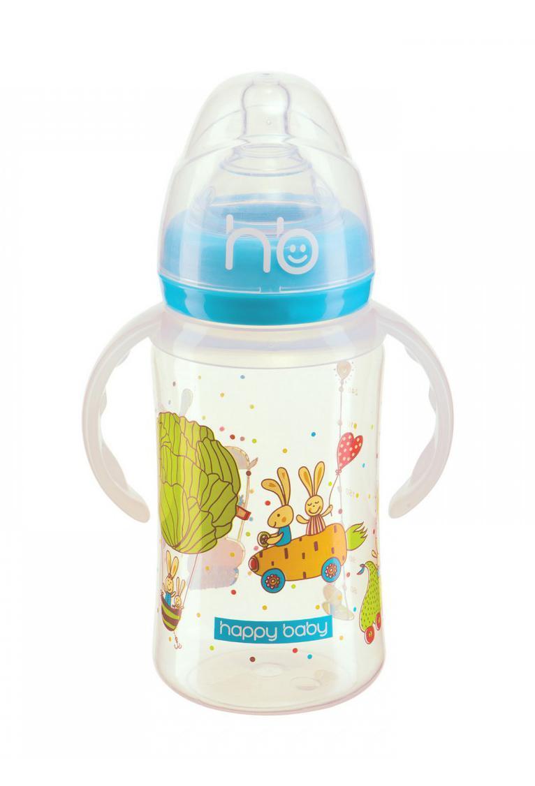"""Happy Baby 10010 New blue Бутылочка для кормления с ручками """"MILKY STORIES"""" 240 мл, blue"""
