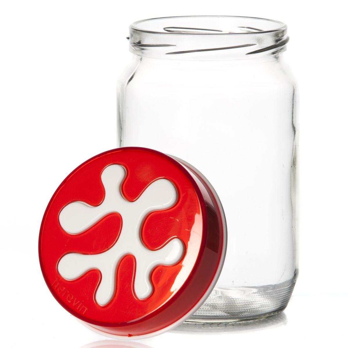 Банка для сыпучих продуктов Herevin, цвет: красный, 720 мл. 135367-007135367-007Банка для сыпучих продуктов Herevin изготовлена из прочного стекла и оснащена плотно закрывающейся пластиковой крышкой. Благодаря этому внутри сохраняется герметичность, и продукты дольше остаются свежими. Изделие предназначено для хранения различных сыпучих продуктов: круп, чая, сахара, орехов и т.д. Функциональная и вместительная, такая банка станет незаменимым аксессуаром на любой кухне. Можно мыть в посудомоечной машине. Пластиковые части рекомендуется мыть вручную. Объем: 720 мл. Диаметр (по верхнему краю): 7,5 см. Высота банки (без учета крышки): 14 см.