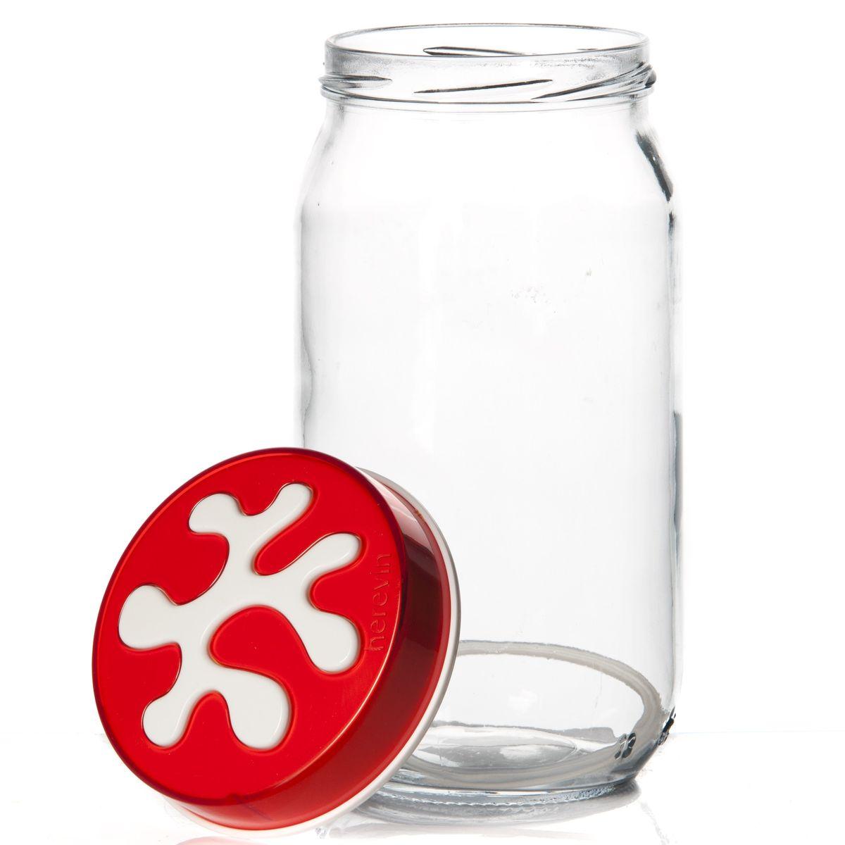 Банка для сыпучих продуктов Herevin, цвет: прозрачный, красный, 1 л. 135377-007135377-007Банка для сыпучих продуктов Herevin изготовлена из прочного стекла и оснащена плотно закрывающейся пластиковой крышкой. Благодаря этому внутри сохраняется герметичность, и продукты дольше остаются свежими. Изделие предназначено для хранения различных сыпучих продуктов: круп, чая, сахара, орехов и другого. Функциональная и вместительная, такая банка станет незаменимым аксессуаром на любой кухне. Можно мыть в посудомоечной машине. Пластиковые части рекомендуется мыть вручную. Объем: 1 л. Диаметр (по верхнему краю): 7,5 см. Высота банки (без учета крышки): 18 см.