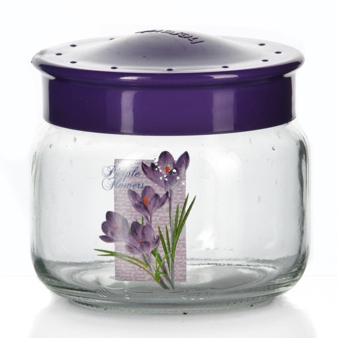 Банка для сыпучих продуктов Herevin, цвет: фиолетовый, 400 мл. 171016-000171016-000Банка для сыпучих продуктов Herevin, изготовленная из прочного стекла, декорирована изображением цветка. Банка оснащена плотно закрывающейся пластиковой крышкой. Благодаря этому внутри сохраняется герметичность, и продукты дольше остаются свежими. Изделие предназначено для хранения различных сыпучих продуктов: круп, чая, сахара, орехов и т.д. Функциональная и вместительная, такая банка станет незаменимым аксессуаром на любой кухне. Можно мыть в посудомоечной машине. Пластиковые части рекомендуется мыть вручную. Объем: 400 мл. Диаметр (по верхнему краю): 7,5 см. Высота банки (без учета крышки): 8 см.