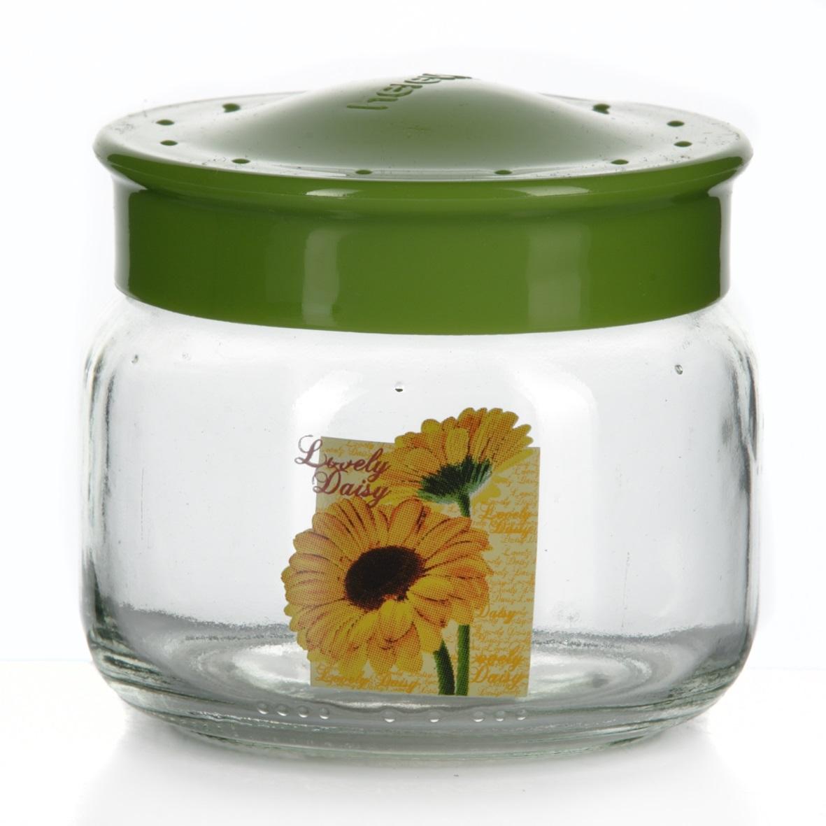 Банка для сыпучих продуктов Herevin, цвет: зеленый, 400 мл. 171018-000171018-000Банка для сыпучих продуктов Herevin, изготовленная из прочного стекла, декорирована изображением цветка. Банка оснащена плотно закрывающейся пластиковой крышкой. Благодаря этому внутри сохраняется герметичность, и продукты дольше остаются свежими. Изделие предназначено для хранения различных сыпучих продуктов: круп, чая, сахара, орехов и т.д. Функциональная и вместительная, такая банка станет незаменимым аксессуаром на любой кухне. Можно мыть в посудомоечной машине. Пластиковые части рекомендуется мыть вручную. Объем: 400 мл. Диаметр (по верхнему краю): 7,5 см. Высота банки (без учета крышки): 8 см.