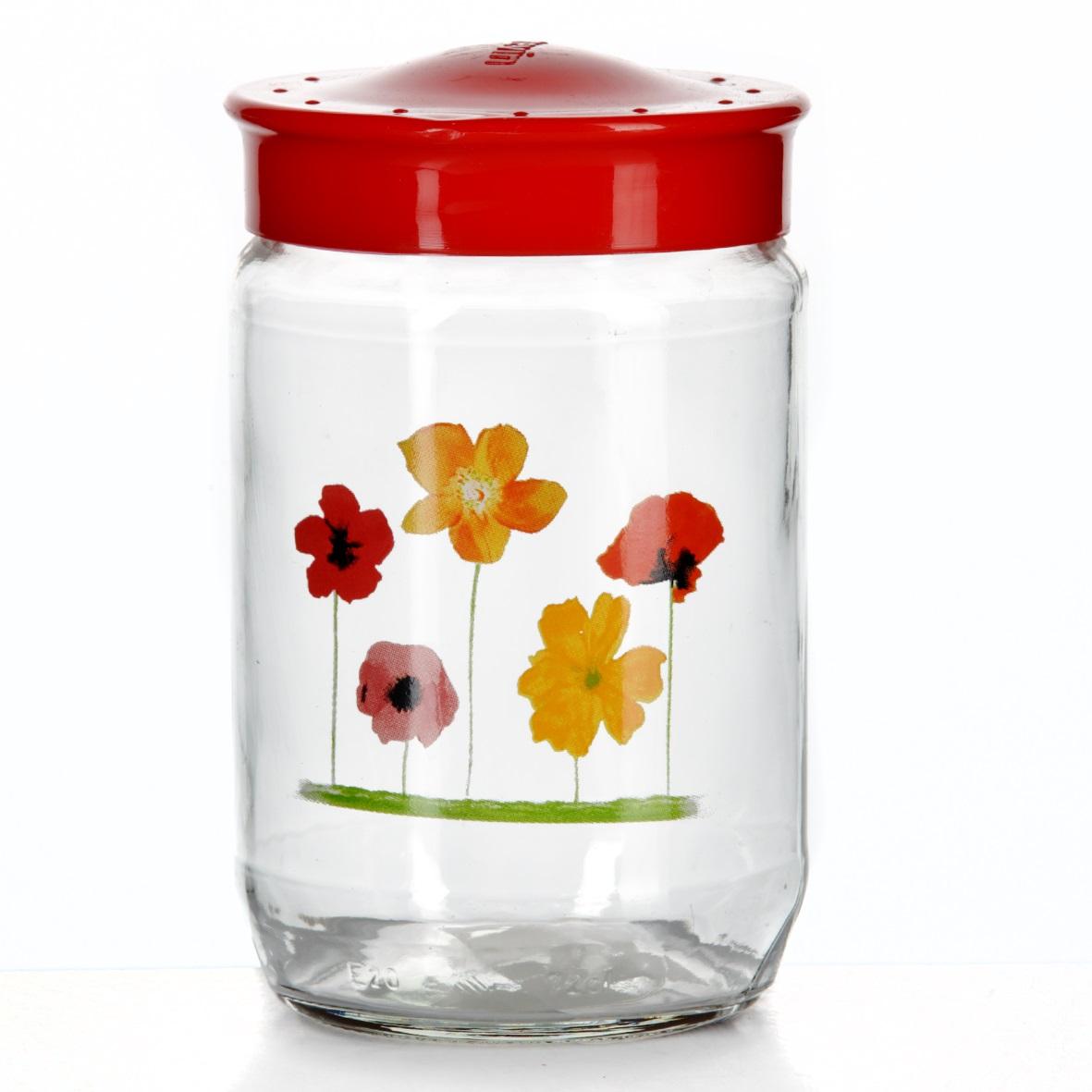 Банка для сыпучих продуктов Herevin, цвет: красный, 720 мл. 171111-000171111-000Банка для сыпучих продуктов Herevin, изготовленная из прочного стекла, декорирована изображением цветов. Банка оснащена плотно закрывающейся пластиковой крышкой. Благодаря этому внутри сохраняется герметичность, и продукты дольше остаются свежими. Изделие предназначено для хранения различных сыпучих продуктов: круп, чая, сахара, орехов и т.д. Функциональная и вместительная, такая банка станет незаменимым аксессуаром на любой кухне. Можно мыть в посудомоечной машине. Пластиковые части рекомендуется мыть вручную. Объем: 720 мл. Диаметр (по верхнему краю): 7,5 см. Высота банки (без учета крышки): 14 см.