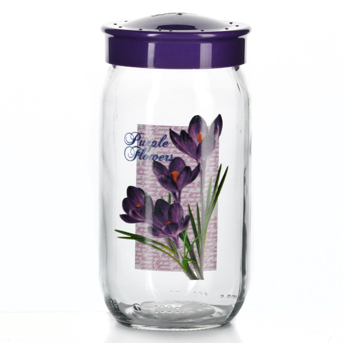 Банка для сыпучих продуктов Herevin, цвет: фиолетовый, 1 л. 171216-000171216-000Банка для сыпучих продуктов Herevin, изготовленная из прочного стекла, декорирована изображением цветов. Банка оснащена плотно закрывающейся пластиковой крышкой. Благодаря этому внутри сохраняется герметичность, и продукты дольше остаются свежими. Изделие предназначено для хранения различных сыпучих продуктов: круп, чая, сахара, орехов и т.д. Функциональная и вместительная, такая банка станет незаменимым аксессуаром на любой кухне. Можно мыть в посудомоечной машине. Пластиковые части рекомендуется мыть вручную. Объем: 1 л. Диаметр (по верхнему краю): 7,5 см. Высота банки (без учета крышки): 18 см.