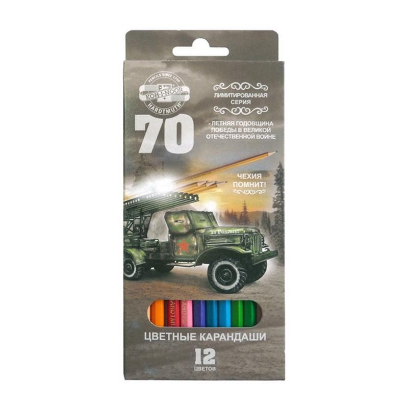 Набор карандашей цветных 70-лет Великой Победы, 12 цв., в картонной упаковке с европодвесом3652/12 33 KS GV