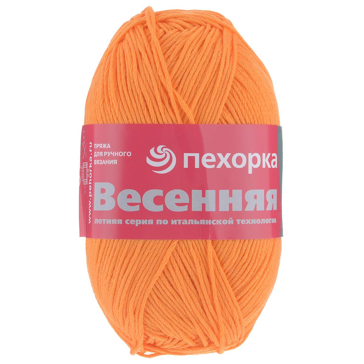 Пряжа для вязания Пехорка Весенняя, цвет: желто-оранжевый (485), 250 м, 100 г, 5 шт360069_485_485-желто-оранжевыйФактура пряжи Пехорка Весенняя представлена стабильной веревочкой. Изготовлена из 100% мерсеризованного хлопка. Толщина нити идеально подходит для изделий, которые можно носить в летнюю прохладную погоду. Гигиенична, гигроскопична, приятна для тела. Рекомендуемый размер спиц №3,5-4. Состав: 100% мерсеризованный хлопок. Количество мотков: 5.