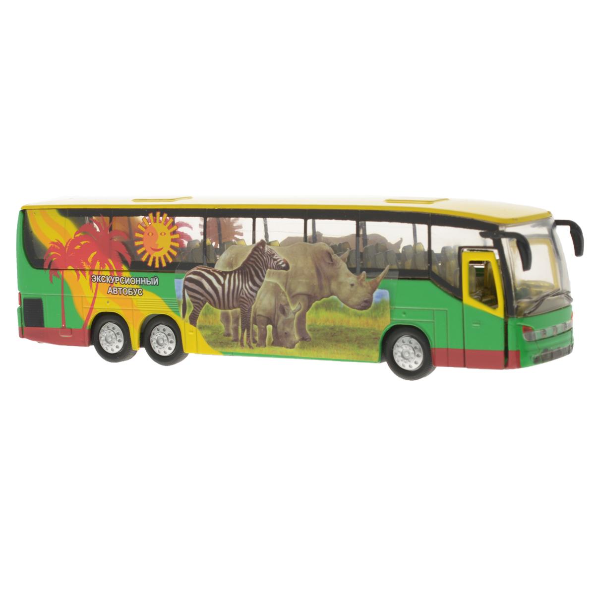 Игрушка инерционная ТехноПарк Автобус. CT10-025-1CT10-025-1Инерционная игрушка ТехноПарк Автобус, выполненная из пластика и металла, станет любимой игрушкой вашего малыша. Игрушка представляет собой модель экскурсионного автобуса, оформленного изображением двух носорогов и зебры и рисунком в виде пальм. Дверь, ведущая в салон, и багажное отделение открываются. При нажатии на переднюю часть автобуса замигают фары и место водителя и раздастся звук работающего двигателя. Игрушка оснащена инерционным ходом. Автобус необходимо отвести назад, затем отпустить - и он быстро поедет вперед. Прорезиненные колеса обеспечивают надежное сцепление с любой гладкой поверхностью. Ваш ребенок будет часами играть с этой игрушкой, придумывая различные истории. Порадуйте его таким замечательным подарком! Автобус работает от батареек (товар комплектуется демонстрационными).