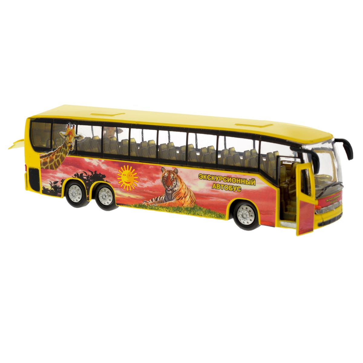 Игрушка инерционная ТехноПарк Автобус. CT10-025-4CT10-025-4Инерционная игрушка ТехноПарк Автобус, выполненная из пластика и металла, станет любимой игрушкой вашего малыша. Игрушка представляет собой модель экскурсионного автобуса. Дверь, ведущая в салон, и багажное отделение автобуса открываются. При нажатии на корпус автобуса замигают внутренняя подсветка и фары и раздастся звук работающего двигателя. Игрушка оснащена инерционным ходом. Автобус необходимо отвести назад, затем отпустить - и он быстро поедет вперед. Прорезиненные колеса обеспечивают надежное сцепление с любой гладкой поверхностью. Ваш ребенок будет часами играть с этой игрушкой, придумывая различные истории. Порадуйте его таким замечательным подарком! Автобус работает от батареек (товар комплектуется демонстрационными).