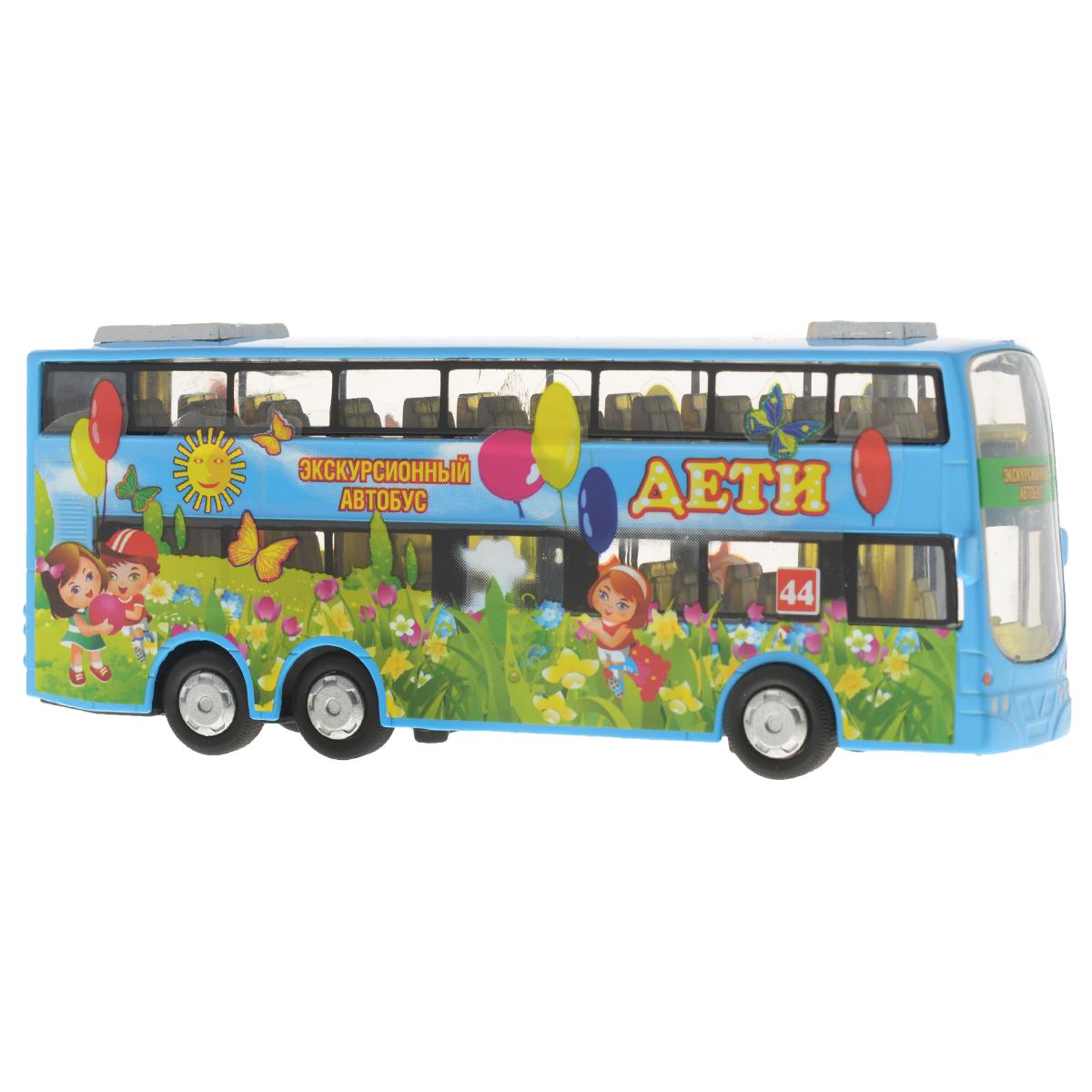 Игрушка инерционная ТехноПарк Автобус двухэтажный: ДетиCT10-054-1Инерционная игрушка ТехноПарк Автобус двухэтажный: Дети, выполненная из пластика и металла, станет любимой игрушкой вашего малыша. Игрушка представляет собой модель двухэтажного экскурсионного автобуса для детей. У него открываются дверь, ведущая в салон, и багажное отделение. При нажатии на корпус автобуса замигает внутренняя подсветка и раздастся звук работающего двигателя. Игрушка оснащена инерционным ходом. Автобус необходимо отвести назад, затем отпустить - и он быстро поедет вперед. Прорезиненные колеса обеспечивают надежное сцепление с любой гладкой поверхностью. Ваш ребенок будет часами играть с этой игрушкой, придумывая различные истории. Порадуйте его таким замечательным подарком! Автобус работает от батареек (товар комплектуется демонстрационными).