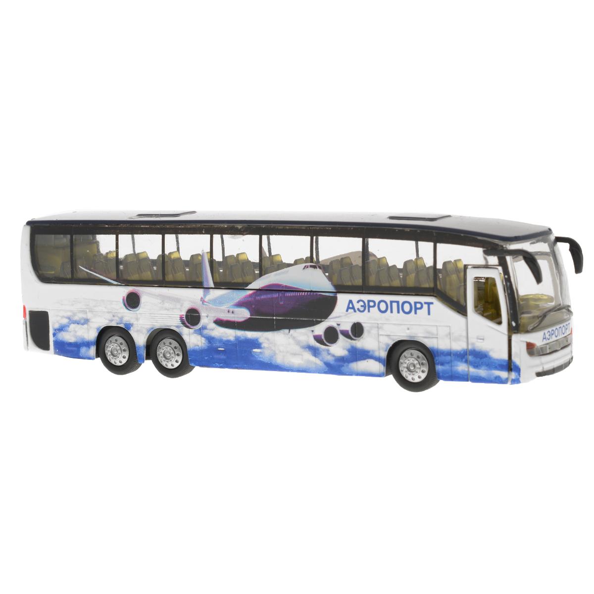 Игрушка инерционная ТехноПарк Автобус. CT10-025(SB)CT10-025(SB)Инерционная игрушка ТехноПарк Автобус, выполненная из пластика и металла, станет любимой игрушкой вашего малыша. Игрушка представляет собой модель автобуса с надписью Аэропорт. Дверь, ведущая в салон, и багажное отделение автобуса открываются. При нажатии на крышу замигает внутренняя подсветка и раздастся звук работающего двигателя. Игрушка оснащена инерционным ходом. Автобус необходимо отвести назад, затем отпустить - и он быстро поедет вперед. Прорезиненные колеса обеспечивают надежное сцепление с любой гладкой поверхностью. Ваш ребенок будет часами играть с этой игрушкой, придумывая различные истории. Порадуйте его таким замечательным подарком! Автобус работает от батареек (товар комплектуется демонстрационными).