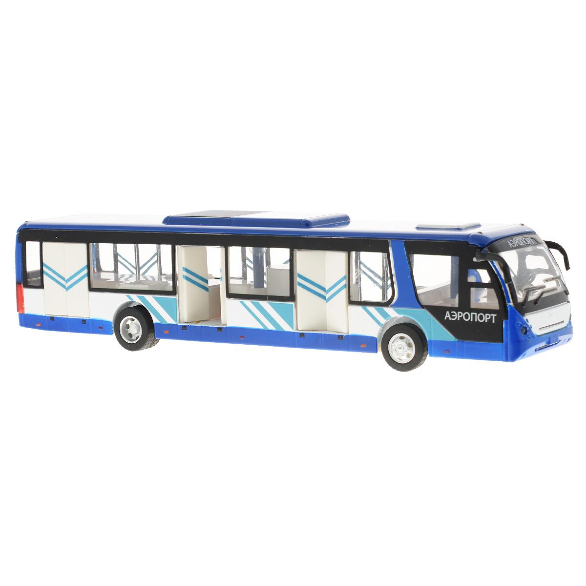 Игрушка инерционная ТехноПарк Автобус: Аэропорт802-WBИнерционная игрушка ТехноПарк Автобус: Аэропорт, выполненная из пластика и металла, станет любимой игрушкой вашего малыша. Игрушка представляет собой модель пассажирского автобуса Аэропорт. Дверцы автобуса открываются. При нажатии на крышу замигает внутренняя подсветка и раздадутся звук работающего двигателя и веселая мелодия. Игрушка оснащена инерционным ходом. Автобус необходимо отвести назад, затем отпустить - и он быстро поедет вперед. Прорезиненные колеса обеспечивают надежное сцепление с любой гладкой поверхностью. Ваш ребенок будет часами играть с этой игрушкой, придумывая различные истории. Порадуйте его таким замечательным подарком! Автобус работает от батареек (товар комплектуется демонстрационными).