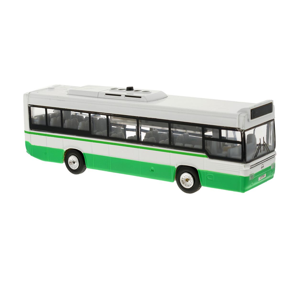 Игрушка инерционная ТехноПарк Автобус. CT-1055 (SL701WB)CT-1055 (SL701WB)Инерционная игрушка ТехноПарк Автобус, выполненная из пластика и металла, станет любимой игрушкой вашего малыша. Игрушка представляет собой модель городского рейсового автобуса. Дверцы автобуса открываются. При нажатии кнопки на крыше замигает табло и раздадутся звук работающего двигателя и голос водителя. Игрушка оснащена инерционным ходом. Автобус необходимо отвести назад, затем отпустить - и он быстро поедет вперед. Прорезиненные колеса обеспечивают надежное сцепление с любой гладкой поверхностью. Ваш ребенок будет часами играть с этой игрушкой, придумывая различные истории. Порадуйте его таким замечательным подарком! Автобус работает от батареек (товар комплектуется демонстрационными).