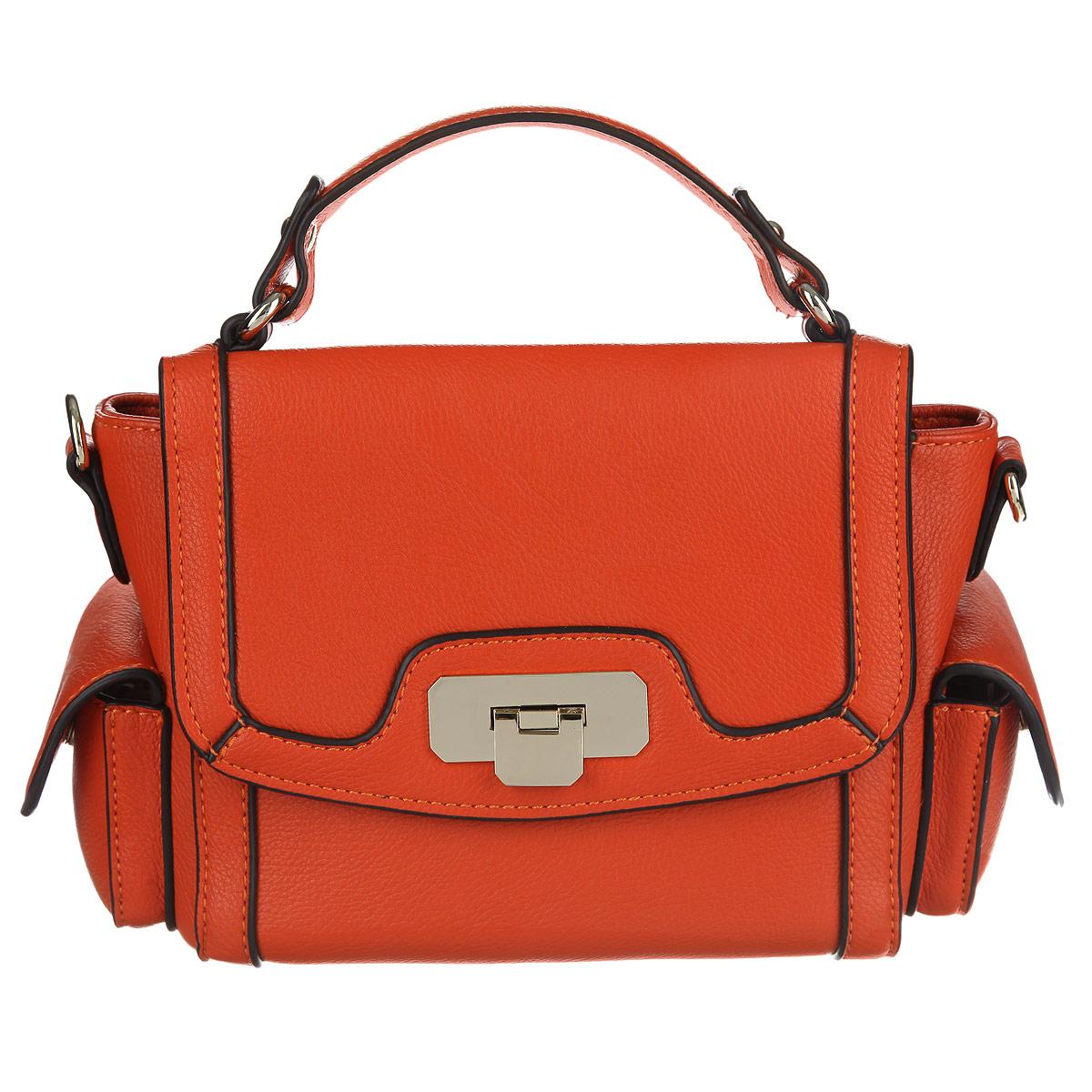 Сумка женская Milana, цвет: оранжевый. 142615-1-127142615-1-127Стильная женская сумка Milana изготовлена из искусственной кожи, закрывается на молнию и клапан с замком-защелкой. Сумка состоит из одного отделения, разделенного перегородкой. Внутри есть один накладной карман для телефона и мелочей, и один врезной карман на молнии. По бокам сумки расположены накладные кармашки, закрывающиеся на клапаны с магнитными кнопками. В комплекте съемный плечевой ремень регулируемой длины. Ремень крепится на металлическую фурнитуру по бокам сумки с помощью карабинов. В комплекте чехол для хранения. Подойдет к любому летнему или вечернему наряду. Эта сумка не останется незамеченной. Прекрасно подходит для модных и стильных девушек, любящих оказываться в центре внимания. Сумка выполнена в изящном стиле.