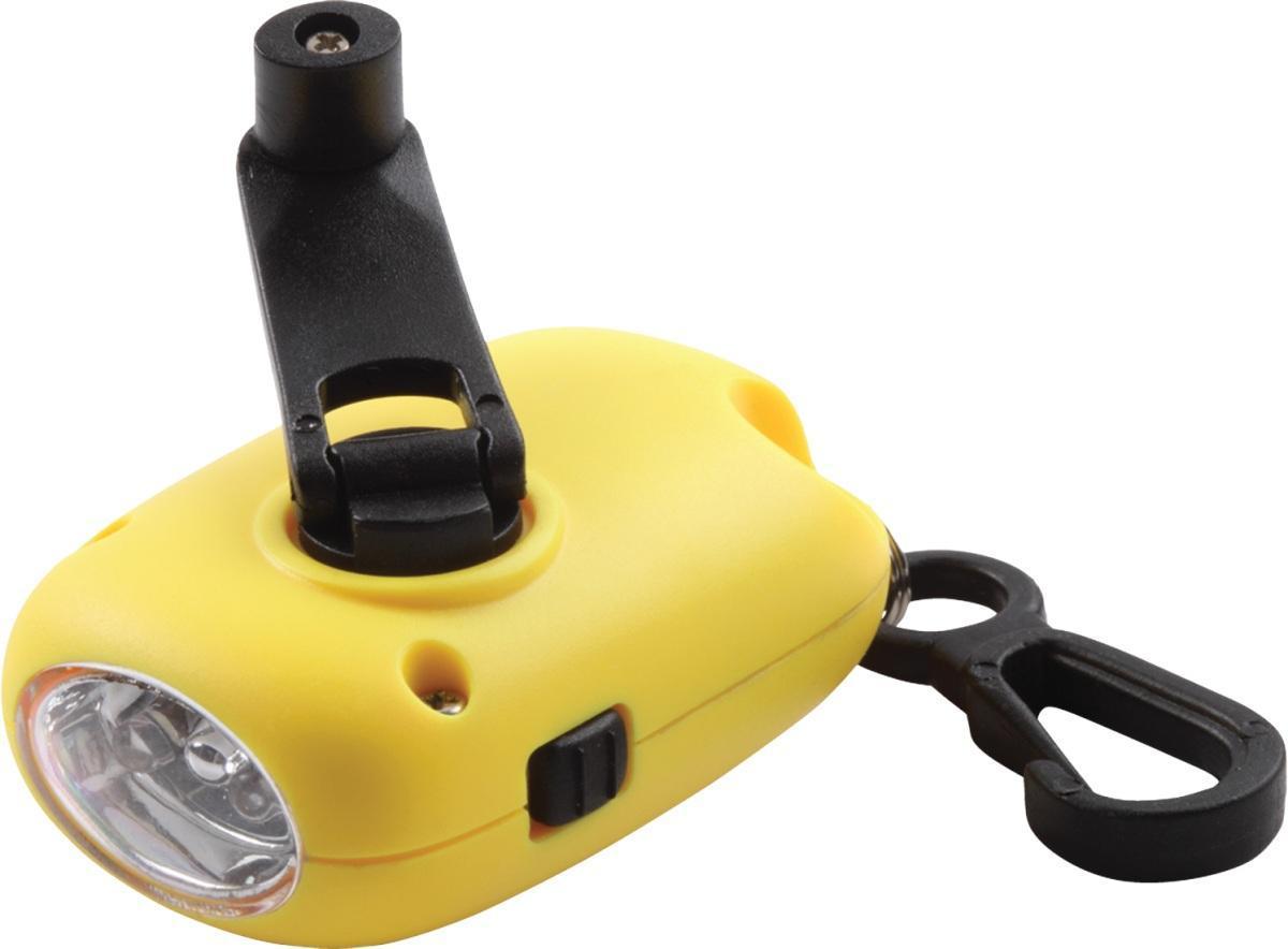 Динамо фонарь COGHLANS жёлтый1203yФонарь, для которого не нужны батареи. Два ярких современных светодиода. Компактный, можно использовать как брелок. Удобная кнопка включения и выключения. Полная зарядка достигается в течении 1 минуты. Время работы - 30 минут. Ресурс - не менее 500 циклов перезарядки. Прочный полимерный корпус. Карабин для крепления к одежде.