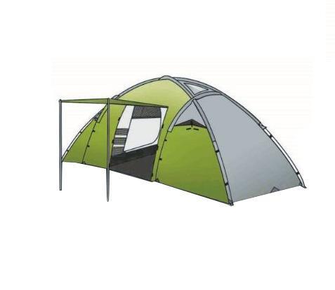 Палатка INDIANA DERNA 4, цвет: зеленый360300010Четырехместная палатка Индиана Derna 4 имеет две внутренние палатки между которых распологается просторный тамбур с двумя входами. Тент палатки выполнен из полиэстра с огнеупорной пропиткой. Хотя ткань тента имеет огнеупорную пропитку, внутри нельзя использовать открытый огонь, так как ткань при длительном контакте с источником огня подвержена загоранию. Все двери и окна снабжены антимоскитными сетками.