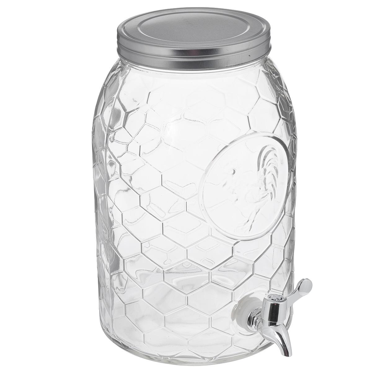 Емкость для напитков Феникс-презент, с краником, 5 л. 3775037750новинкаЕмкость для напитков Феникс-презент изготовлена из прочного стекла. Внешние стенки оформлены рельефом в виде сот и изображением петуха. Изделие снабжено металлической крышкой и пластиковым краником для удобного наливания напитков. Емкость достаточно вместительна, идеальна для воды, сока, кваса и т.д. Пригодится дома, на даче или на пикнике. Диаметр (по верхнему краю): 14 см. Высота емкости: 30 см. Диаметр основания: 19 см.