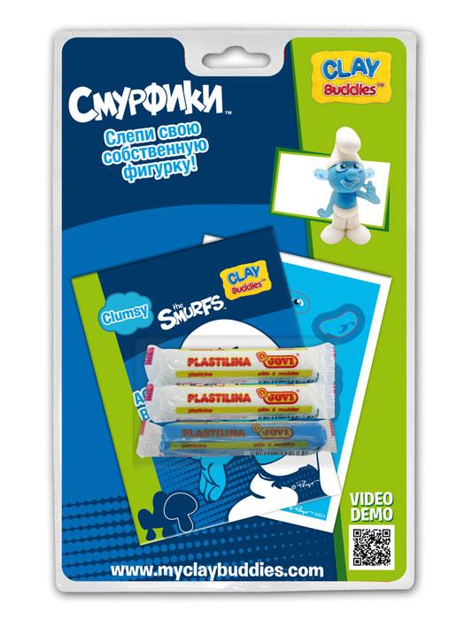 Giromax Набор для лепки Смурфики. ClumsyG 307632Набор для лепки Giromax Смурфики. Clumsy представляет собой сочетание моделирования и игры. Набор включает в себя: 3 плитки пластилина (голубой, белый), карточку с картонными деталями, 1 лист липучек, иллюстрированную книжку с инструкциями и заданиями. Входящая в набор пластилиновая масса разработана специально для детей, очень мягкая, приятно пахнет, ее не надо разминать перед лепкой. Пластилин быстро высыхает, не имеет запаха, не липнет к рукам и одежде, легко смывается. Используя пластилин и картонные формочки, малыш сможет самостоятельно вылепить фигурку любимого героя - Растяпы. Работа с пластилином развивает мелкую моторику пальцев малыша, пространственное воображение, фантазию.