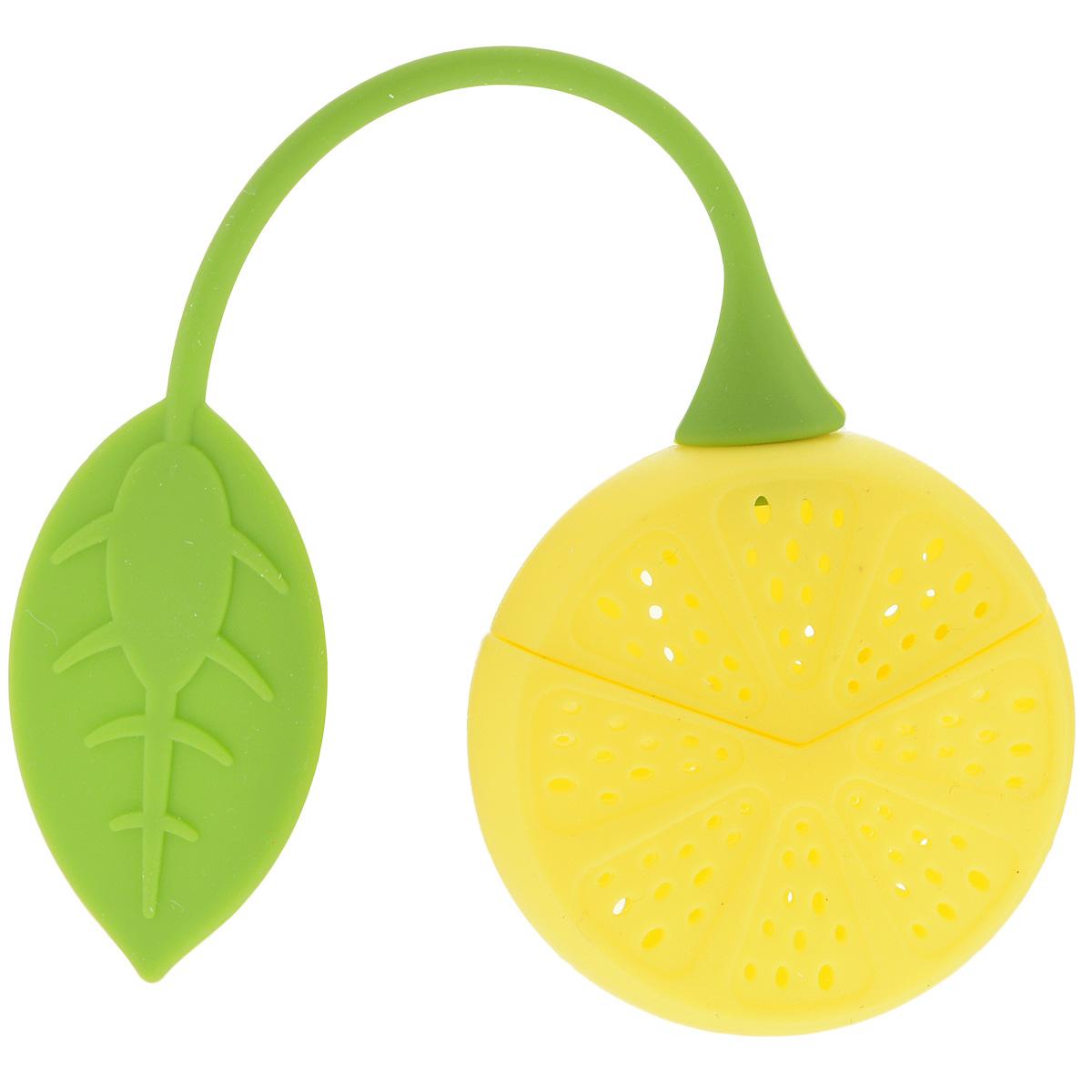 Ситечко для чая Marmiton Лимон, цвет: желтый, зеленый16138Ситечко для заваривания чая Marmiton Лимон выполнено из высококачественного силикона в виде лимона с отверстиями. Изделие оснащено силиконовой ручкой в виде листика. Ситечко оригинального яркого дизайна займет достойное место на вашей кухне. Теперь можно заваривать любимый чай быстро и легко! Размер ситечка (без учета ручки): 5 см х 5 см х 2,5 см. Длина ручки ситечка: 13 см.