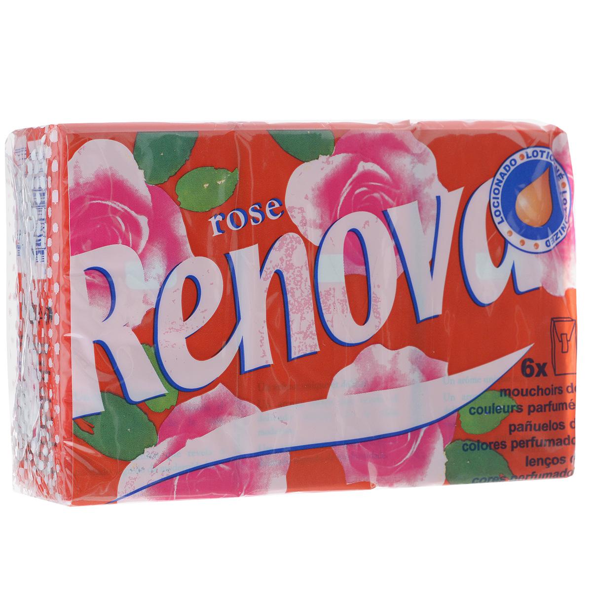 """Платочки бумажные Renova """"Rose"""", парфюмированные, четырехслойные, цвет: красный, 6 пачек, Renova (Renova FPA)"""